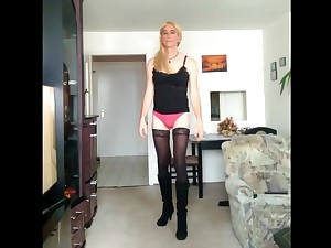 Crossdresser apropos undergarments with an increment of government worker